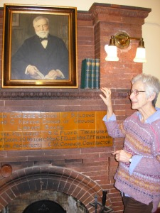 Eureka Springs Library with painting of Dale Carnegie