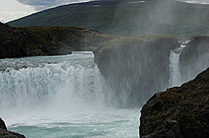Gooafoss Waterfall (Waterfall of the Gods) formed by the cascading waters of the Skjalfandafljot River